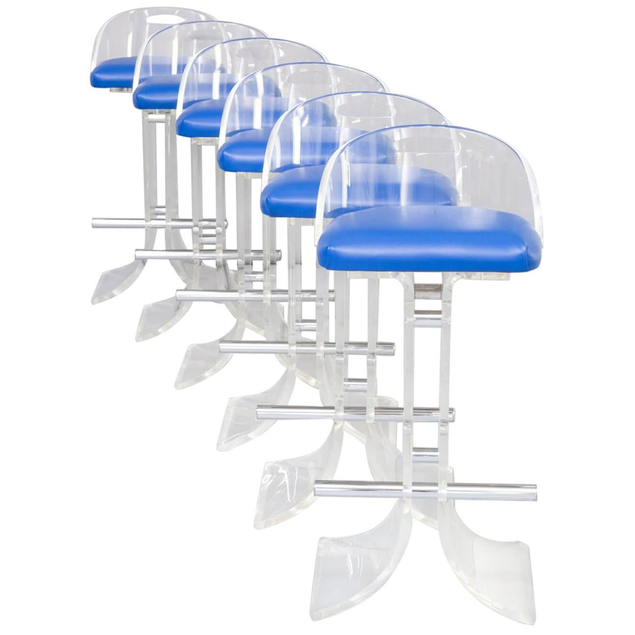 1970s Beautiful Lucite Barstools for Hill Manufacturing Co. Set of 6