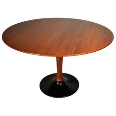 1970s Beech Round Dining Table, Czechoslovakia