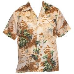 1970S Beige & Brown Polyester Men's Tropical Hawaiian Shirt