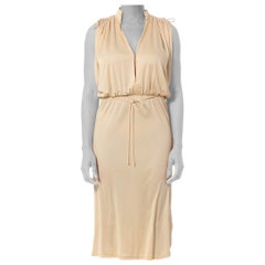 1970S Beige Polyester Jersey Low Cut Disco Dress With Elastic Waist