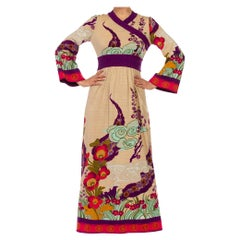 1970S Beige & Purple Jersey Chinoiserie Floral Print  Dress