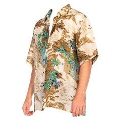 1970S Beige Silk Men's Tony Montana Style Hawaiian Shirt
