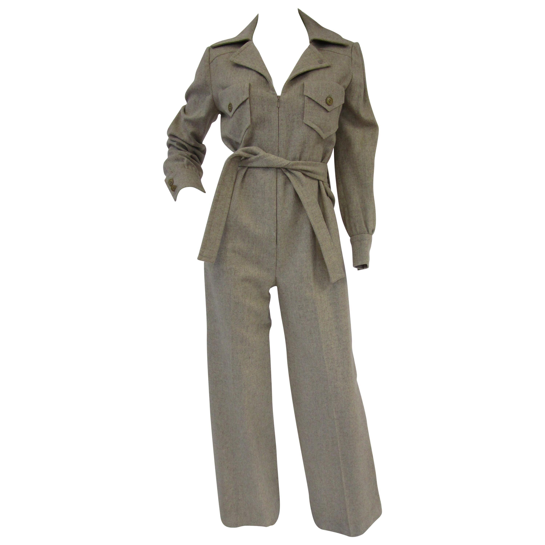 1970s Beige Wool Tailored Jumpsuit