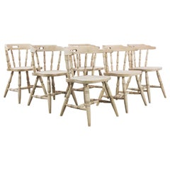1970s Belgian Bleached Oak Dining Chairs, Set of Six
