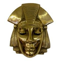1970s Belgian Brass Hanging Pharaoh Face Plaque