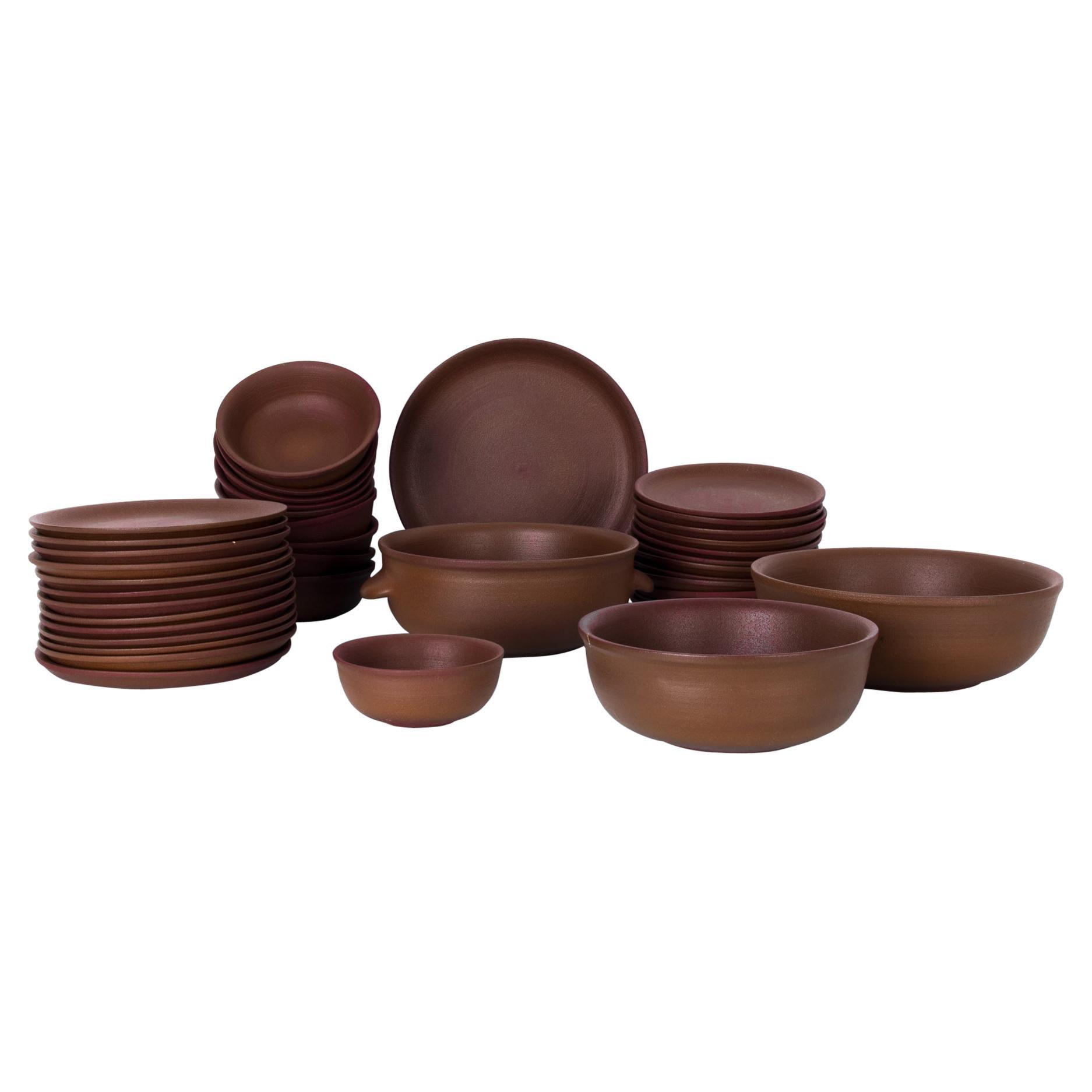 1970s Belgian Brown Ceramic Dinnerware, Set of 39