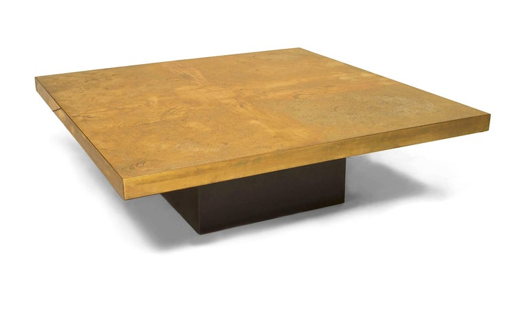 Belgian Modern design (1970s) square etched brass coffee table with a centered