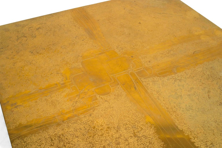 Mid-Century Modern George Mathias Belgian Modern Square Etched Brass Coffee Table For Sale