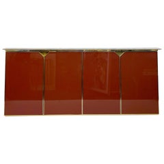 1970s Belgian Lacquered, Marble and Brass Sideboard in Red by Belgochrom