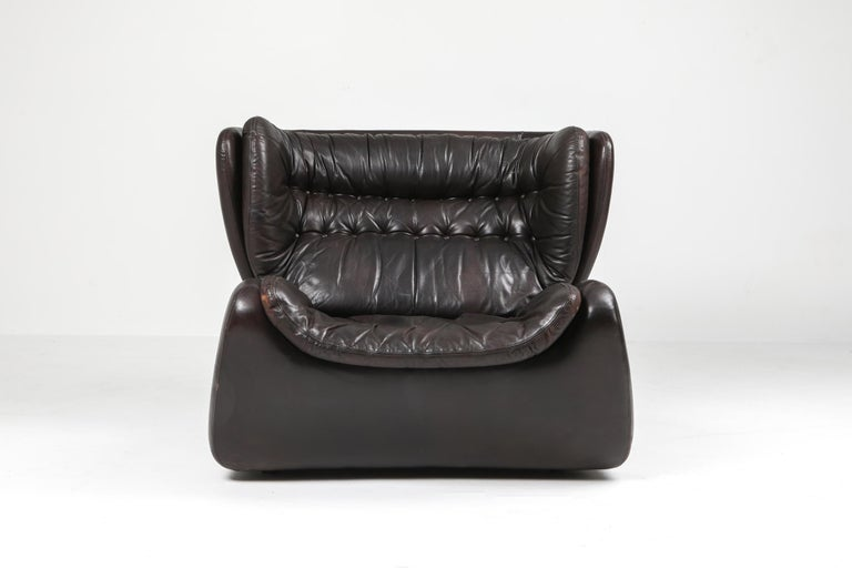 20th Century 1970s Belgian Lounge Chair with Ottoman 'Pasha' by Durlet For Sale