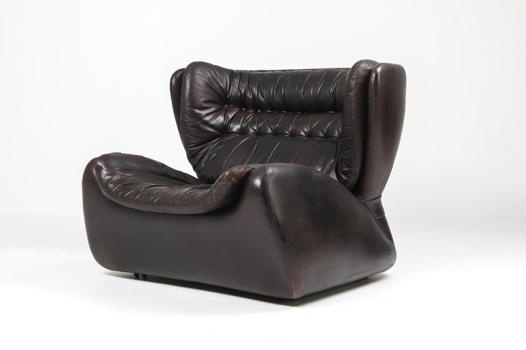 Leather 1970s Belgian Lounge Chair with Ottoman 'Pasha' by Durlet For Sale