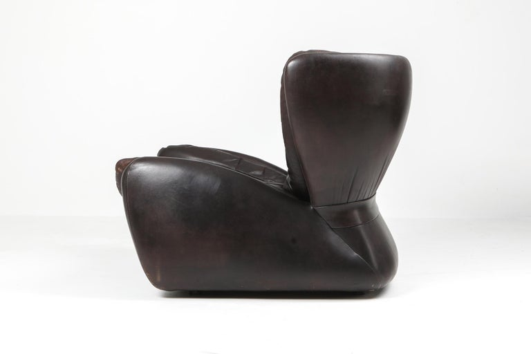 1970s Belgian Lounge Chair with Ottoman 'Pasha' by Durlet For Sale 2