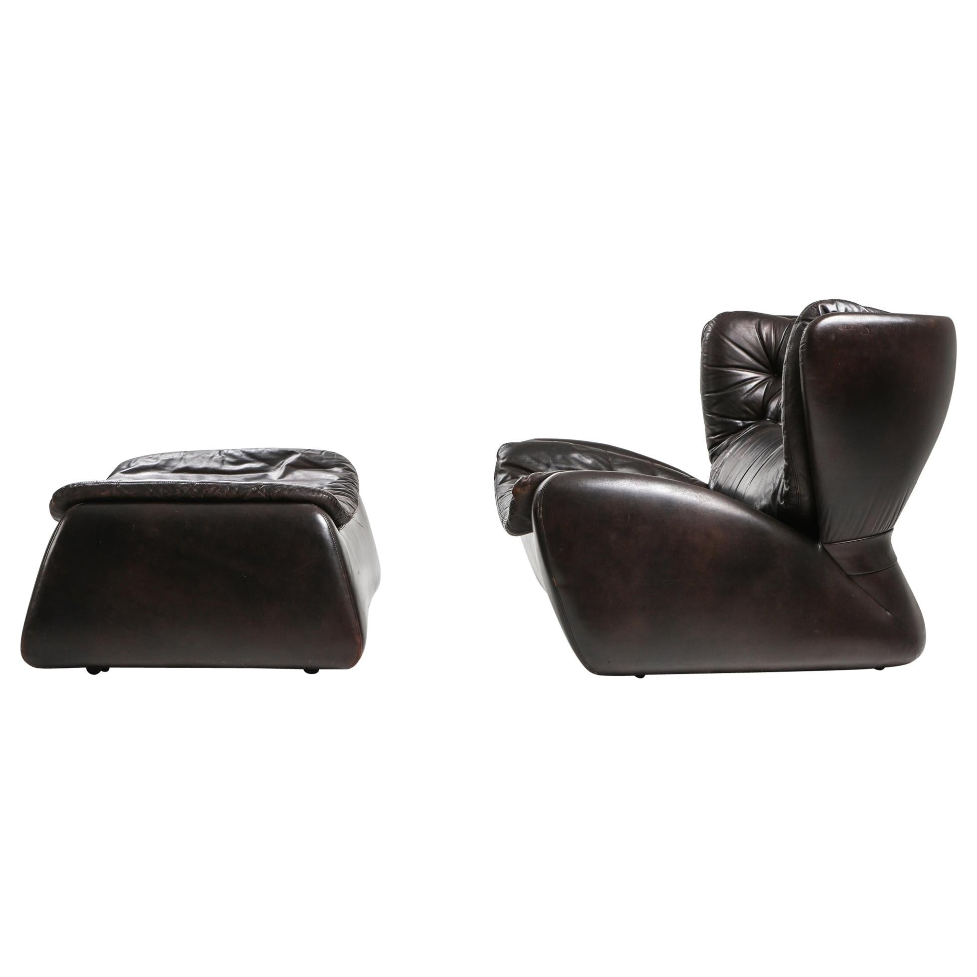 1970s Belgian Lounge Chair with Ottoman 'Pasha' by Durlet