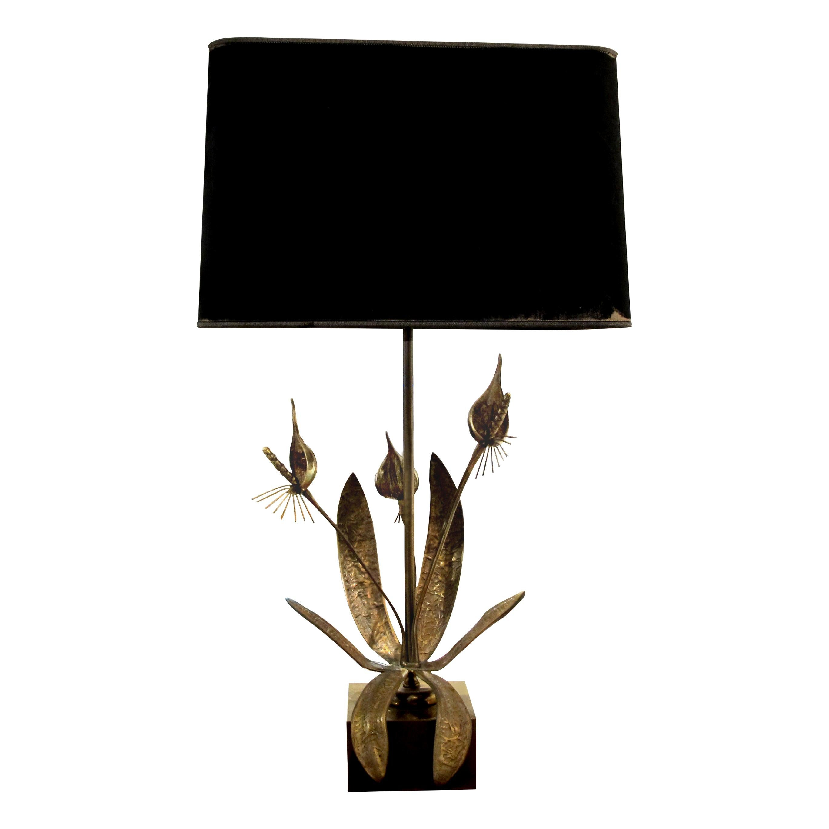 1970s Belgian Solid Bronze Floral Table Lamp Sculpture Willy Daro Style