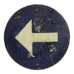 1970s Belgium Blue and White Arrow Direction Road or Street Sign