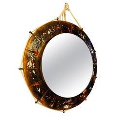 1970s Belgium Ceramic Enameled Tiled Round Wall Mirror