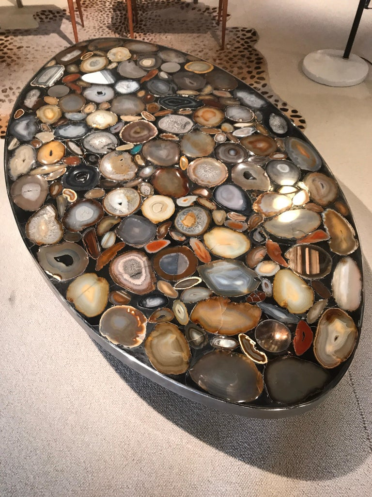 1970s Belgium Coffee Table with Agates Inlay For Sale 3
