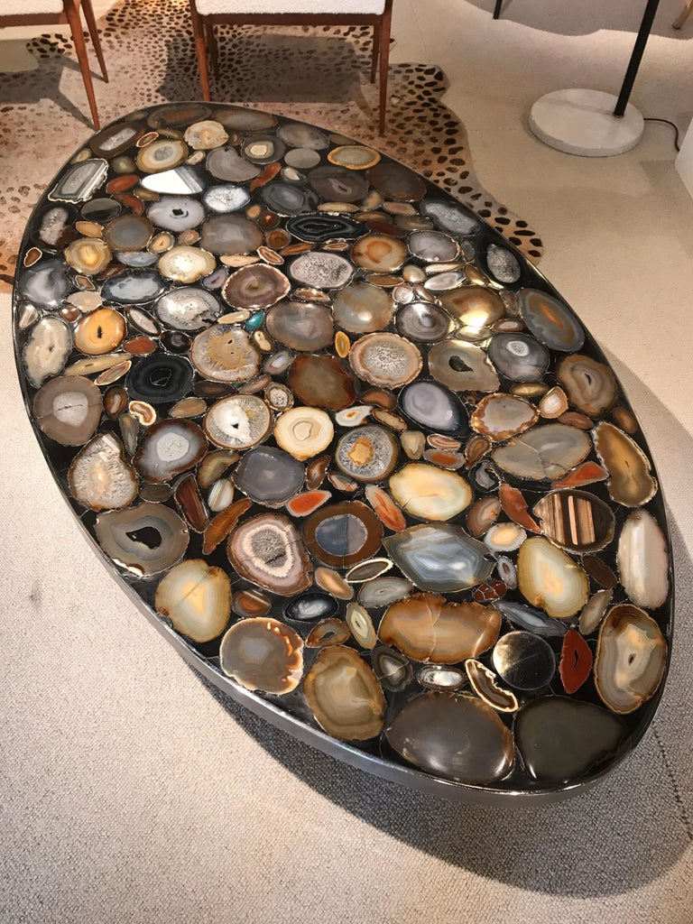 Mid-Century Modern 1970s Belgium Coffee Table with Agates Inlay For Sale
