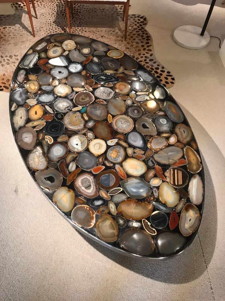 Belgian 1970s Belgium Coffee Table with Agates Inlay For Sale
