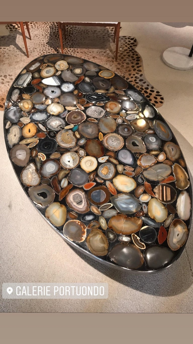 1970s Belgium Coffee Table with Agates Inlay In Good Condition For Sale In Saint-Ouen, FR