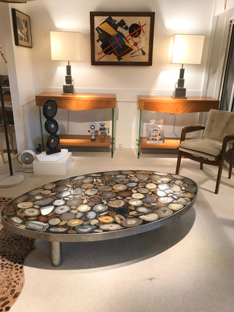 Late 20th Century 1970s Belgium Coffee Table with Agates Inlay For Sale