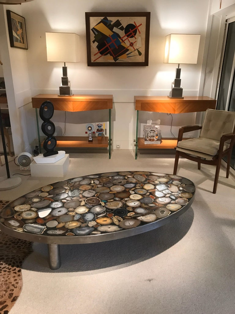 Steel 1970s Belgium Coffee Table with Agates Inlay For Sale