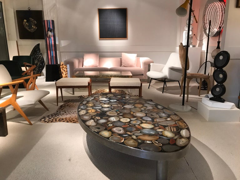 1970s Belgium Coffee Table with Agates Inlay For Sale 1