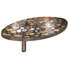 1970s Belgium Coffee Table with Agates Inlay