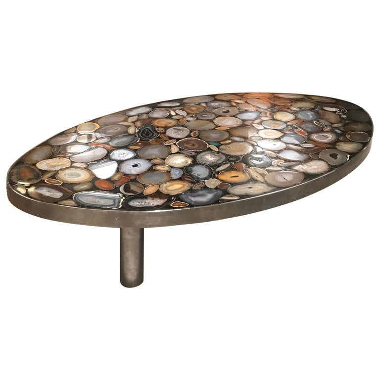 1970s Belgium Coffee Table with Agates Inlay For Sale
