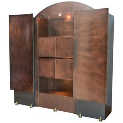 1970s Belgo Chrome Design Bar Cabinet, Copper and Brass, Belgium