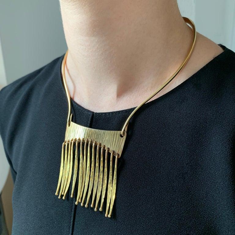 Modernist 1970s Bent Gabrielsen, Gold Articulated Fringe Necklace For Sale