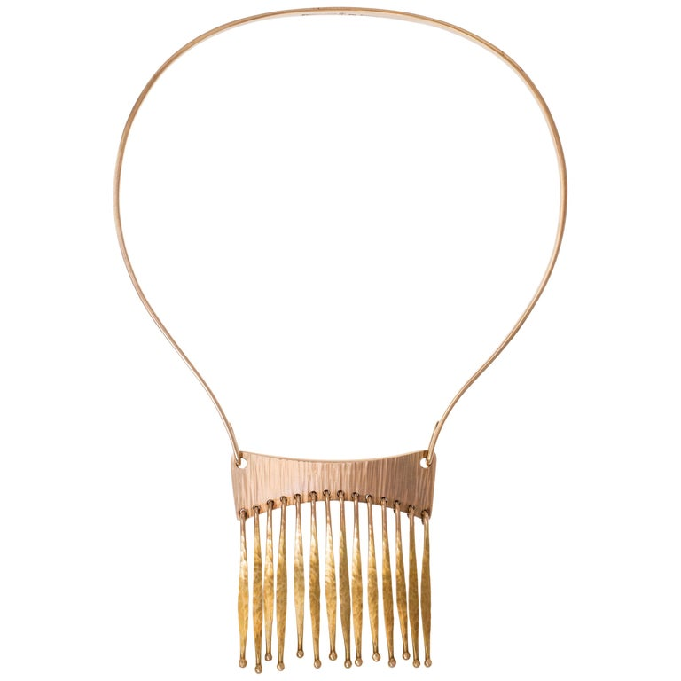 Bent Gabrielsen gold fringe necklace, 1970s, offered by Mahnaz Collection