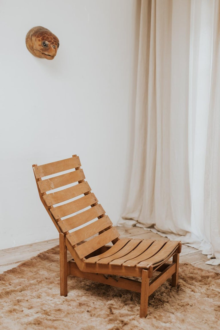 French 1970s Bentwood Lounge Chair For Sale