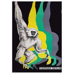 1970s Berlin Zoo Monkey Travel Poster Pop Art Design