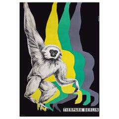 1970s Berlin Zoo Monkey Travel Poster Pop Art Design