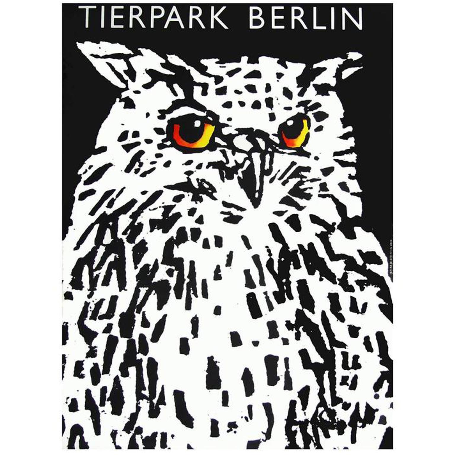 Owl Tierpark Berlin Zoo  Germany Vintage German Travel Advertisement Poster