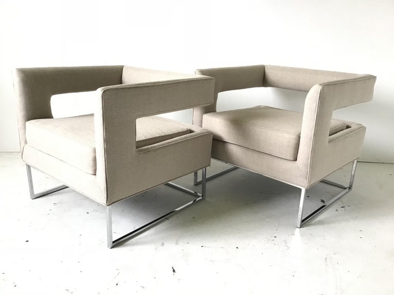 Modern 1970s Bernhardt Flair Cantilevered Back Cube Lounge Chairs For Sale