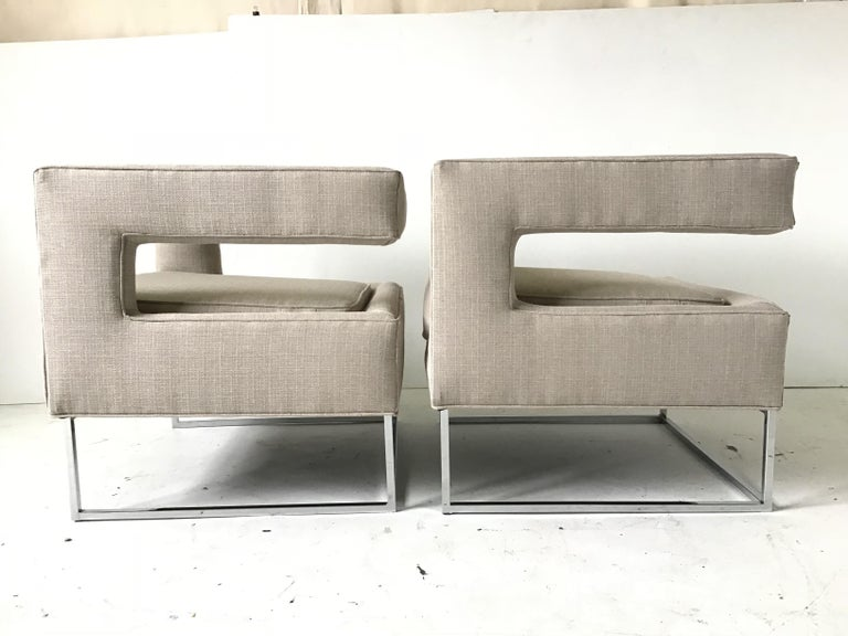American 1970s Bernhardt Flair Cantilevered Back Cube Lounge Chairs For Sale
