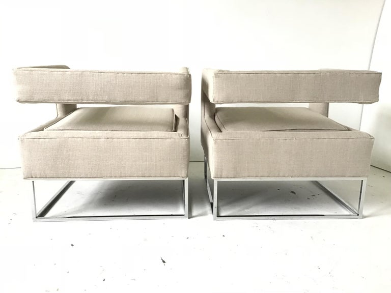 Late 20th Century 1970s Bernhardt Flair Cantilevered Back Cube Lounge Chairs For Sale