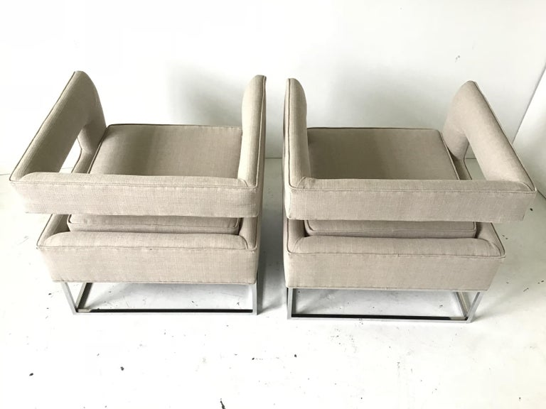 Upholstery 1970s Bernhardt Flair Cantilevered Back Cube Lounge Chairs For Sale