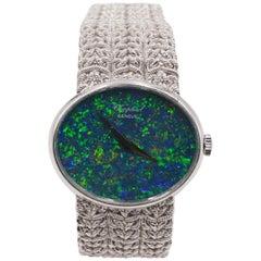 1970s Bespoke Chopard L.U.C Black Opal and 18 Carat White Gold Watch