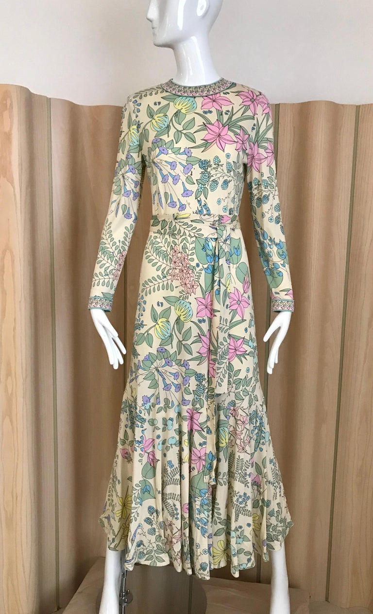 1970s Bessi Multi Color Floral Jersey Maxi Dress For Sale 5