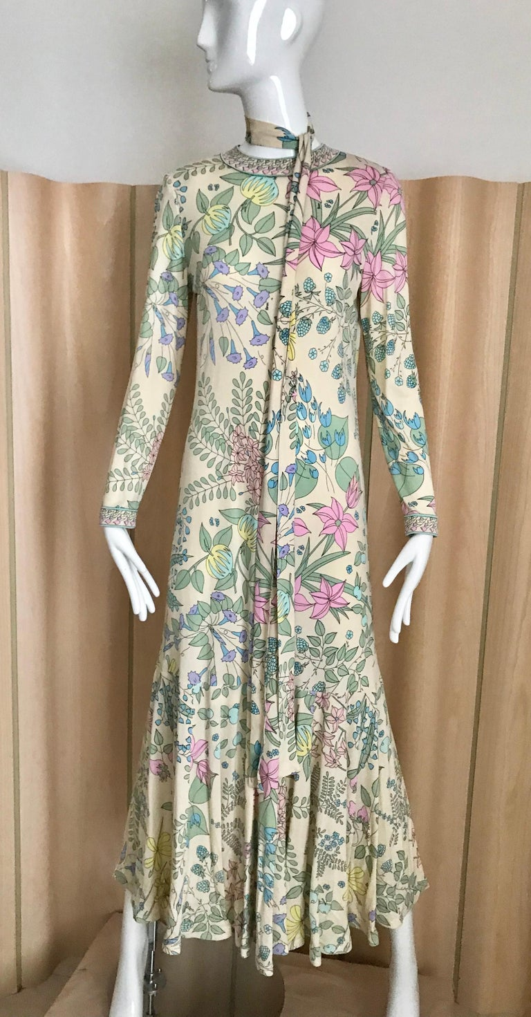 Gray 1970s Bessi Multi Color Floral Jersey Maxi Dress For Sale