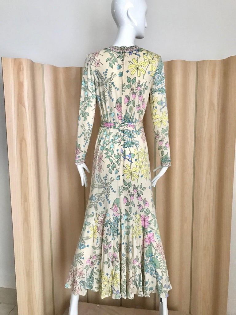 1970s Bessi Multi Color Floral Jersey Maxi Dress In Good Condition For Sale In Beverly Hills, CA
