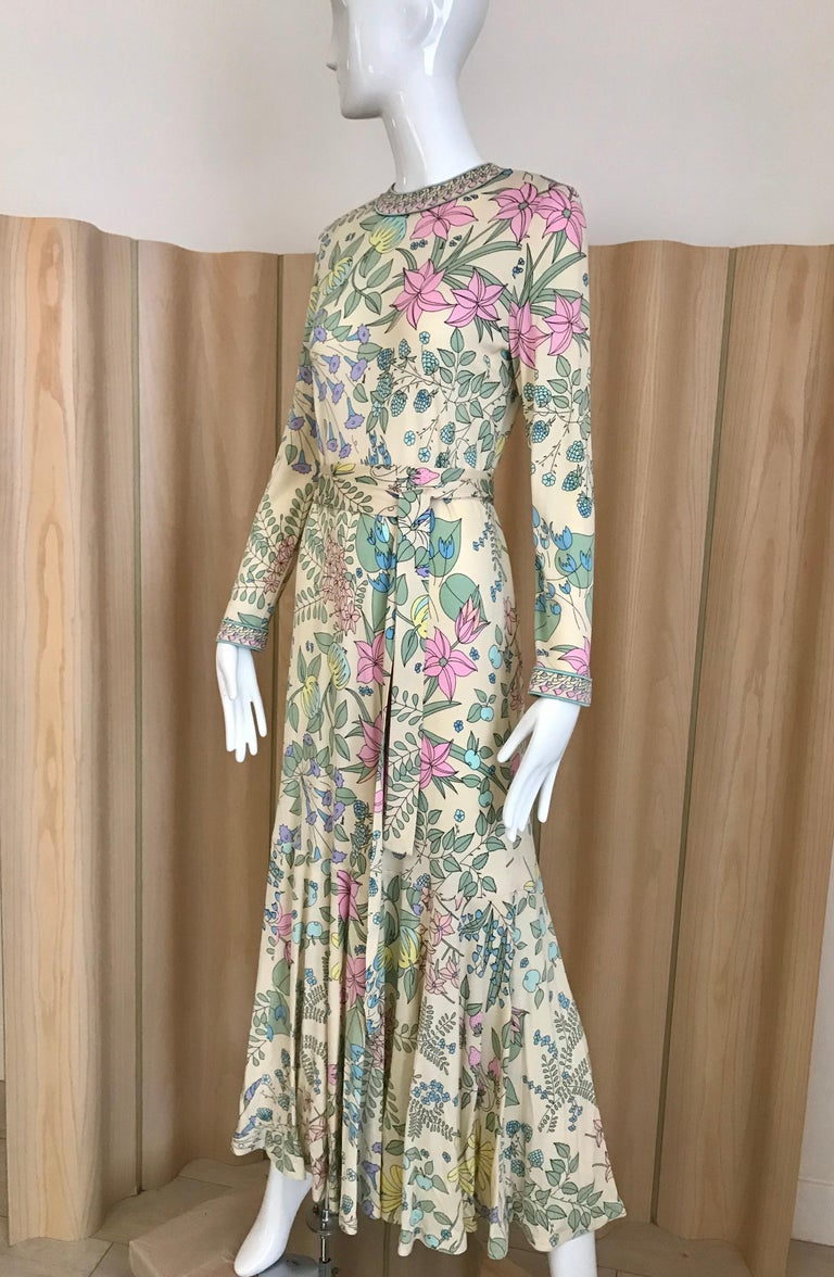 1970s Bessi Multi Color Floral Jersey Maxi Dress For Sale 1