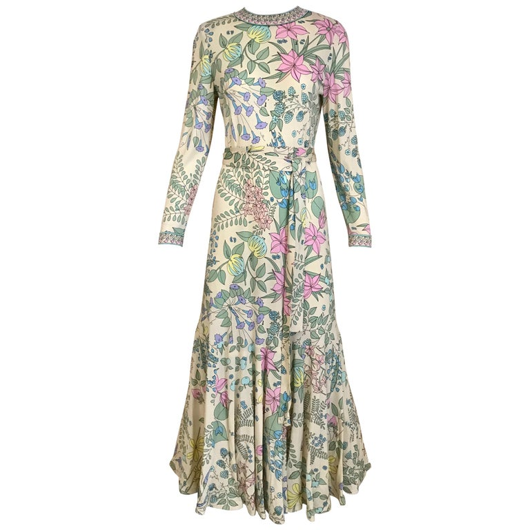 1970s Bessi Multi Color Floral Jersey Maxi Dress For Sale