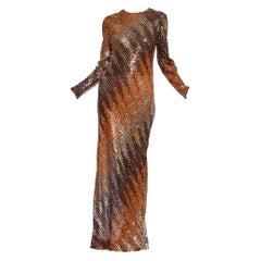 1970's Bias Cut Ombre Sequin Gold Disco Gown