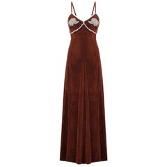 1970s Biba Chestnut Brown Velvet Maxi Dress With Lace Embellishments