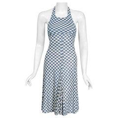 1970's Biba London Blue & Ivory Checkered Print Jersey Halter Hourglass Dress