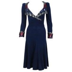 1970's Biba London Sequin Navy Blue Wool Puff-Shoulder Plunge Collar Cuff Dress